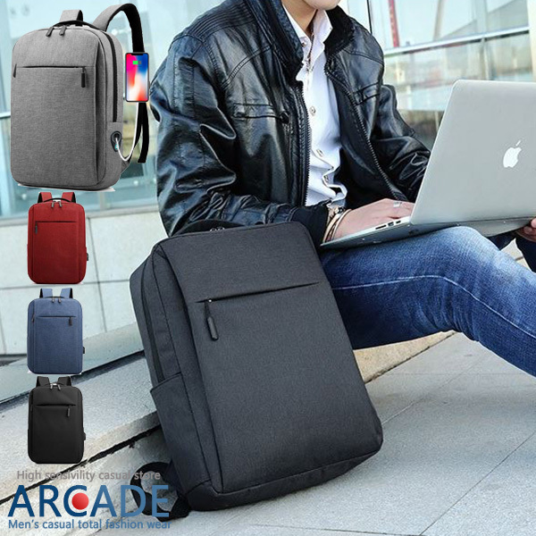 ビジネスリュック バッグ 通勤 通学 大容量 薄型 出張 撥水 軽い A4 PC USBポート 充電