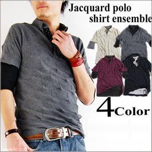 2点セットアンサンブルシャドーブロックチェックポロシャツ+ロールアップドットVネック5分袖Tシャツ