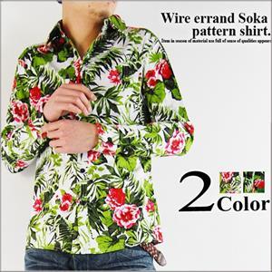 ワイヤー使い花柄長袖シャツ