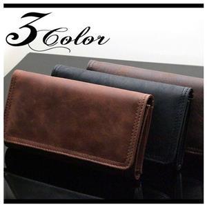 ビンテージ加工リアルレザー三つ折り財布